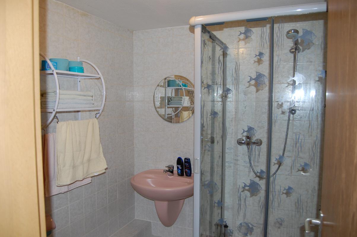 Kleines Badezimmer Im Erdgeschoss Ausstattung :   Duschkabine   WC    Waschbecken   Handtücher Vorhanden